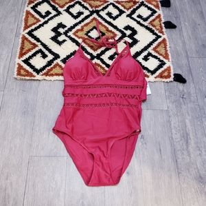 Boutique 9 Red Pom pom one piece swimsuit M